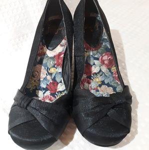 Jelly pop silk pumps, low heel, black, size 6.5